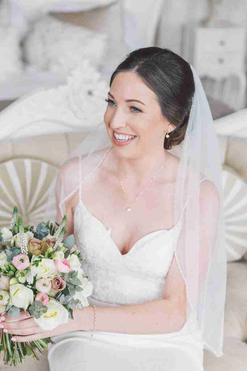 North East, Durham bride reveals natural wedding day bridal makeup and sleek updo hairstyle.